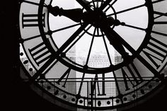 Paris Photography - A moment in Paris - 8x10 Fine Art Photograph- Clock at the Musee DOrsay -  affordable home decor - black and white via Etsy