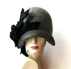7a45d0ed Gray Felted Hat felt hat Cloche Hat 1920 Hat Art Gray Hat Cloche Victorian  1920's Wool Women's hat black roses felt hats