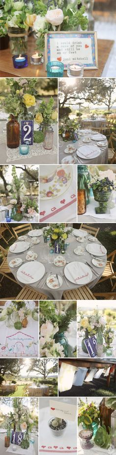 Cute alt to mason jars. Also love the tile table numbers. beltane ranch reception colored glass centerpieces,