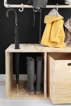 DIY plywood hallway unit