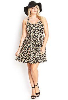 Floral Print Fit  Flare Dress #F21Plus
