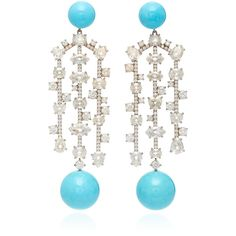 One-Of-A-Kind 18K White Gold Earrings Set With Kingman Turquoise... (€124.775) ❤ liked on Polyvore featuring jewelry, earrings, 18k white gold earrings, white gold jewellery, white gold earrings, turquoise blue earrings and turquoise jewelry