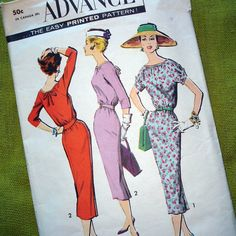 1950s Vintage Sewing Pattern   Chemise DRESS  by SelvedgeShop, $12.00