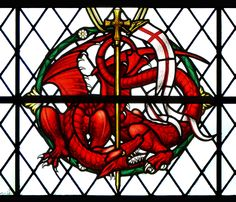 Dragon detail from the War Memorial window in the North aisle of Salisbury Cathedral, Wiltshire