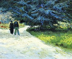 Vincent van Gogh (Dutch, Post-Impressionism, Public Garden with Couple and Blue Fir Tree (The Poet's Garden III), Created in Arles, France. Rembrandt, Vincent Van Gogh, Art Van, Claude Monet, Van Gogh Arte, Van Gogh Pinturas, Georges Seurat, Van Gogh Paintings, Van Gogh Museum