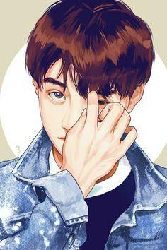 D.O kyungsoo desenho ilustrado.