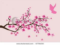 stock vector : vector cherry blossom and a pink dove