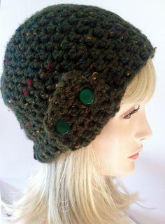 Crochet Beanie Forest Green  with vintage green by ScarletsCorner, $25.00