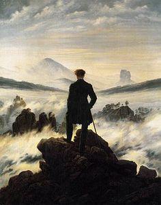 Caspar David Friedrich, Der Wanderer über dem Nebelmeer, 1818. Olio s tela, 98 × 74, Amburgo, Kunsthalle.