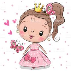 Cute Princess on a white background. Cute fairy-tale Princess on a white background vector illustration Cartoon Cartoon, Kids Cartoon Characters, Cute Cartoon Girl, Art And Illustration, Princess Illustration, Art Illustrations, Cute Princess, Princess Cartoon, Princess Birthday