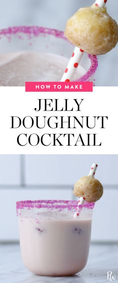 Here's how to make a delicious jelly doughnut cocktail. #jellydoughnut #cocktails #cocktailrecipes #doughnuts