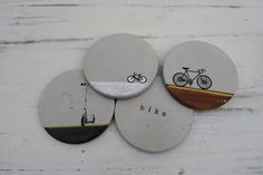 Concrete Coasters Bike Series by MDCinteriors on Etsy