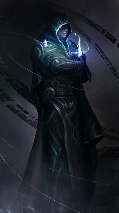 Jace Beleren, the architect of glowing blue stuff by theDURRRRIAN sorcerer wizard warlock spell robes necromancer armor clothes clothing fashion player character npc | Create your own roleplaying game material w/ RPG Bard: www.rpgbard.com | Writing inspiration for Dungeons and Dragons DND D&D Pathfinder PFRPG Warhammer 40k Star Wars Shadowrun Call of Cthulhu Lord of the Rings LoTR + d20 fantasy science fiction scifi horror design | Not Trusty Sword art: click artwork for source