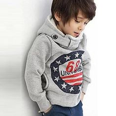 Boy's Fashion Personality British Style Double Row Button Hooded Fleece - BRL R$ 29,20