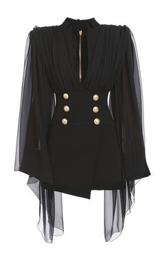 Cape-Overlay Double-Breasted Silk Dress by BALMAIN for Preorder on Moda Operandi kleidung, Kpop Fashion Outfits, Stage Outfits, Edgy Outfits, Classy Outfits, Fashion Dresses, Cute Outfits, Dance Outfits, Look Fashion, Korean Fashion