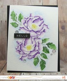 Beautiful day: Altenew, Kuretake Gansai Tambi Watercolors, emboss image, wet section, drop in color, move around, watercolor, flower sketch, Holly at marker pop