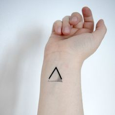 Temporary Tattoo Triangle Geometric Black For Him by Siideways Small Tattoos With Meaning, Cool Small Tattoos, Small Wrist Tattoos, Small Tattoo Designs, Tattoos For Women Small, Unique Tattoos, Cool Tattoos, Awesome Tattoos, Tattoo Placement Hip