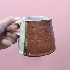 New shorter➕stouter➕wider mugs! 🙃☕️🙂 #mug #clay #ceramics #pots #pottery #handlechange #pink #bling #coffee #tea #boomerang