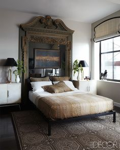 Love this idea of an old door frame as a headboard. Designer Visions: Matthew Patrick Smyth Transforms a Manhattan Apartment - ELLE DECOR Home Bedroom, Bedroom Furniture, Bedroom Decor, Bedroom Ideas, Modern Bedroom, Bedroom Mirrors, Mirrored Bedroom, Fall Bedroom, Bedroom Ceiling