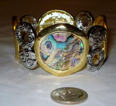 Abalone Pauna Shell Two-Tone Bracelet - FREE shipping!