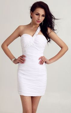 One-shoulder Tight Evermiss 1024 White Homecoming Dress