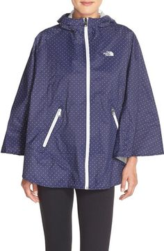 The North Face | Waterproof Hooded Poncho in Patriot Blue Classic Dot available at #Nordstrom