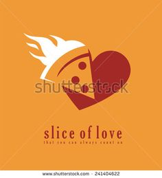 Pizza logo design template. Pizzeria symbol creative concept. Slice of love that you always count on. Love pizza. Hot, fresh and tasty pizza slice in negative space. Unique icon idea. - stock vector