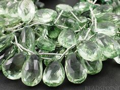 Natural ''NO TREATMENT'' Green Amethyst Faceted Pear by Beadspoint, $49.95