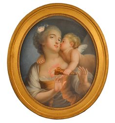 #Pastel #inset representing a young woman and love holding a torch. Very beautiful color and great finesse. #Giltwood frame. French school of the late #18th century. For sale on Proantic by Clock Prestige.