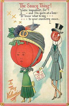 VALENTINE'S DAY-SAUCY THING-FRUIT HEADS-CRANBERRY-GARDEN TRUCK-TUCK-Q68551