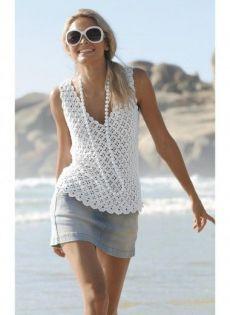 English Crochet Pattern Clover Flower Summer Top PDF - Pretty white sleeveless V-neck crochet top T-shirt Au Crochet, Pull Crochet, Mode Crochet, Crochet Shirt, Crochet Woman, Crochet Flower, Crochet Summer Tops, Diy Vetement, Crochet Fashion