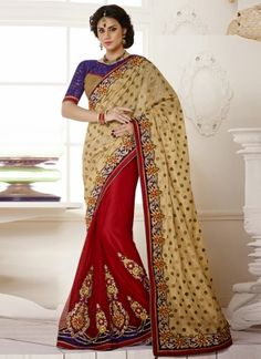 Hot Red With Cream Half N Half Designer Wedding Saree  http://www.angelnx.com/Sarees/Wedding-Sarees#/sort=p.date_added/order=DESC/limit=32/page=12