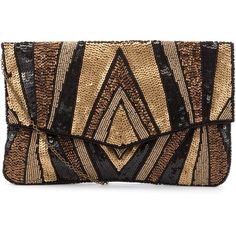 Gold and Black Sequin Envelope Clutch ($32) ❤ liked on Polyvore