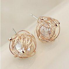 Fashion Ladies 2014 Small Balls Nest Zircon Stud Earrings