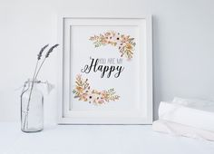 PRINTABLE Art You are my Happy Typography Art by WishfulPrinting