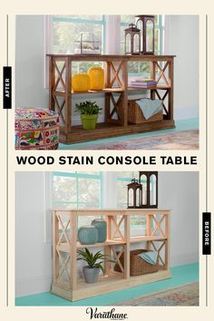 Make an inexpensive unfinished console look like you bought it at a boutique with just an afternoon and a little Varathane stain and poly. Starting from scratch allows you to choose the look: modern farmhouse or rich dark stains? Furniture Projects, Wood Furniture, Home Projects, Furniture Online, Bedroom Furniture, Farmhouse Decor, Modern Farmhouse, Interior Exterior, Diy Table