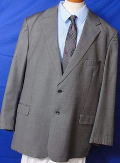 Zino. Men's, Gray, Serge,  2 Button , Wool, Suit. Size 50R. Fully Lined,  #Zino #TwoButton