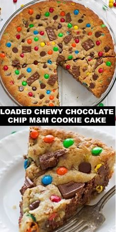 Loaded chewy chocolate chip M&M cookie cake. Fun Baking Recipes, Sweet Recipes, Cookie Recipes, M&m Cookie Cake Recipe, Vegan Recipes, Chocolate Chip M&m Cookies, Chocolate Chips, Healthy Chocolate, Just Desserts