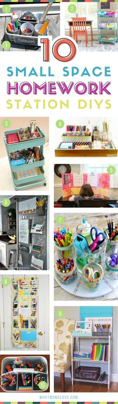 Homework Station DIY ideas for small spaces | How to create a study area for children - perfect for back to school, or even an art supply playroom area!