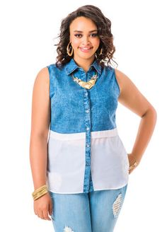 Chambray and Chiffon Tunic Shirt, Ashley Stewart $36.50