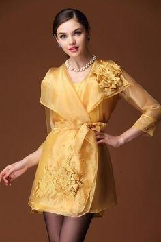 Ladies Plus Size vintage ethnic embroidery dress Belted Dress, Jacket Dress, Modern Filipiniana Gown, Simple Pakistani Dresses, Organza Dress, Embroidery Dress, Designer Dresses, Beautiful Dresses, Short Dresses