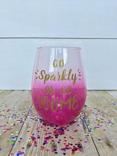 Go Sparkly or Go Home! | 20oz Stemless Wine Glass | Personalized | Gold Glitter | Hot Pink | Mom Life | Sparkle | Wine Lover | Bachelorette