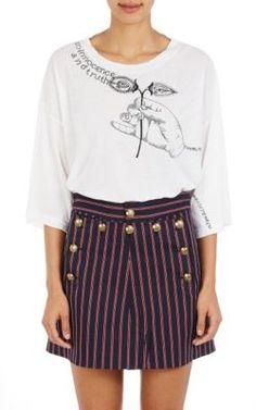MAISON MARTIN MARGIELA Embroidered Cotton Jersey T-Shirt. #maisonmartinmargiela #cloth #t-shirt