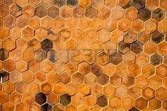 hexagon brick wall background Stock Photo
