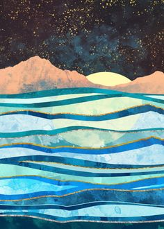 Hand-crafted metal posters designed by talented artists. Collage Landscape, Landscape Quilts, Landscape Paintings, Abstract Landscape, Landscape Tattoo, Landscape Background, Landscape Wallpaper, Ocean Drawing, Nature Posters