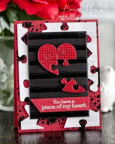 GOOD MORNING & welcome to our day of our Anniversary Celebration of Sneaky Peeks! I hope you enjoyed our sneaks SO FAR! Valentine Day Cards, Valentine Crafts, Valentines, Puzzle Piece Crafts, Puzzle Pieces, Kirigami, Love You To Pieces, Stampinup, Cards For Friends