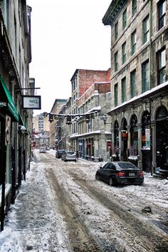 Canada. Quebec. Old Montreal. St Paul st. after the snow storm.