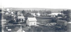 View of Waterloo, Ontario, Canada (1889) looking south from the top of Central School at King and Central (formerly Church) streets. Albert Street is at top right and Silver Lake in Waterloo Park can be seen behind Albert Street. Spring Street is in the foreground.