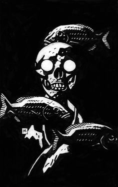 Mike Mignola - Fish and Skull Art And Illustration, Illustrations, Kunst Inspo, Art Inspo, Comic Books Art, Comic Book Artists, Mc Bess, Mike Mignola Art, Comic Kunst