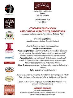 26/09 - Pizzeria Innarone - Caserta - Festa per la consegna della Targa di Socio dell'AVPN